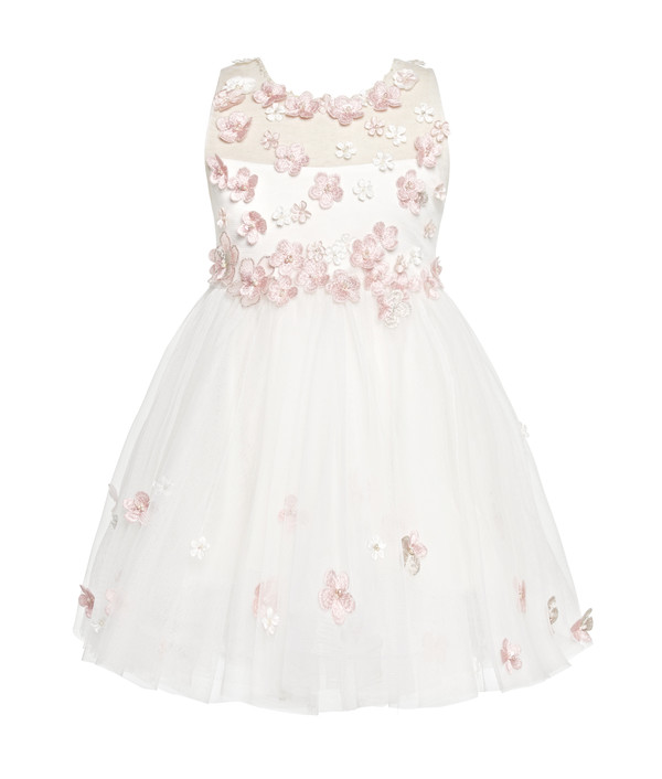 Flowing white dress with handmade flower details pily by little p homedress mightylinksfo